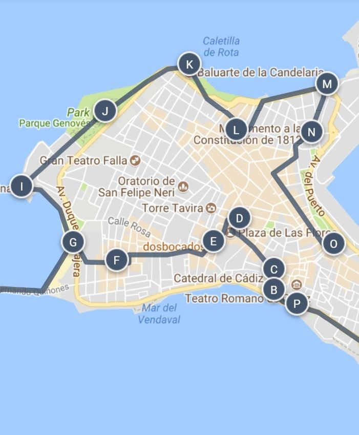 A Walking Tour Map of Historic Cadiz, Spain and other great travel on