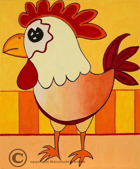 Prints on canvas Chicken by Decoludik on Etsy