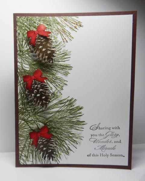 Stampin' Up! ... handmade Christmas card ... pine branches and cones form a column ... one layer design ... cute red bows on the cones ...