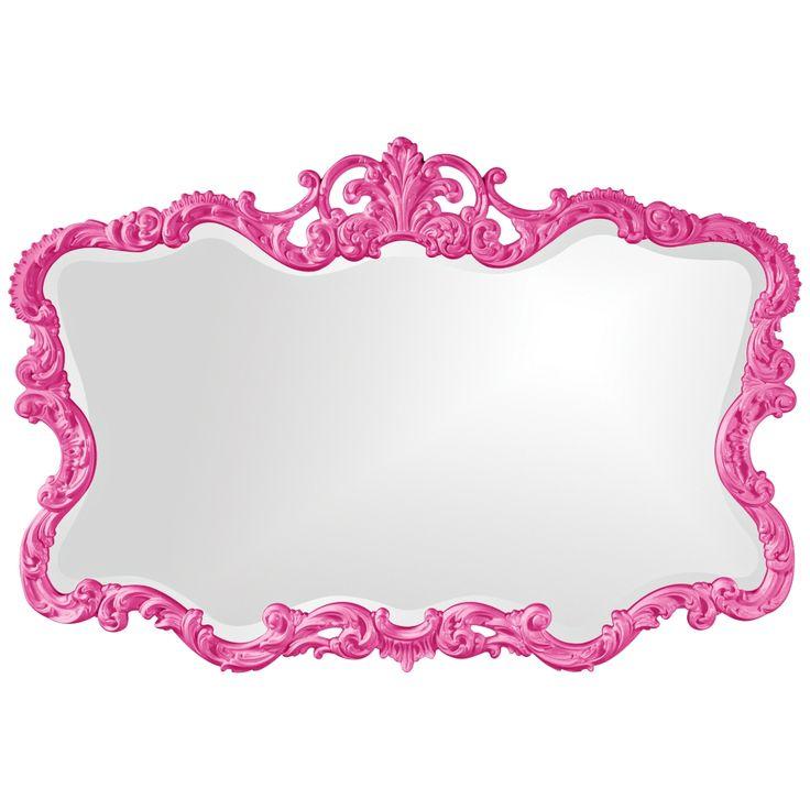 """Howard Elliott Talida 38"""" x 27"""" Hot Pink Wall Mirror - Style # 5J966"""