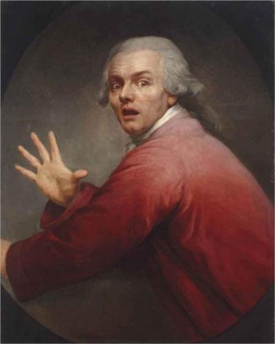 Joseph Ducreux (French: 1735 - 1802) - Autoportrait en homme surpris et terrorisé (1791)