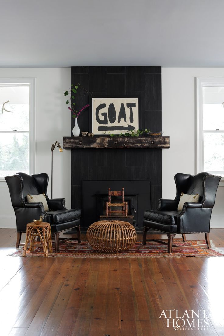 Image Result For Black Fireplace In White Living Room Photos Accent Walls In Living Room Farm House Living Room Black Accent Wall Living Room