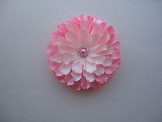 Satin hair bow flower. Handmade hair by AngelinasFlowers on Etsy