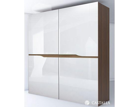 Armario vela apertura de armario coplanar lacado blanco for Mueble salon lacado alto brillo