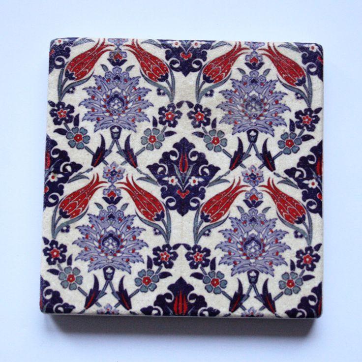 Turkish Iznik Ceramic Tile Design Stone Coaster