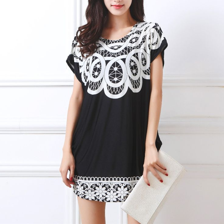 2017 new women T Shirt Dress Plus Size Women mini dress short sleeve Loose Casual Tops print tunic dresses large big  4xl 5xl