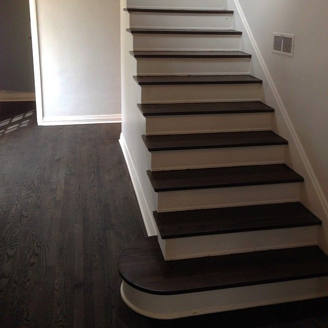 Before Railing Goes In Water Popped Ebony Stain Over Original Restored Red Oak Wood FlooringDark