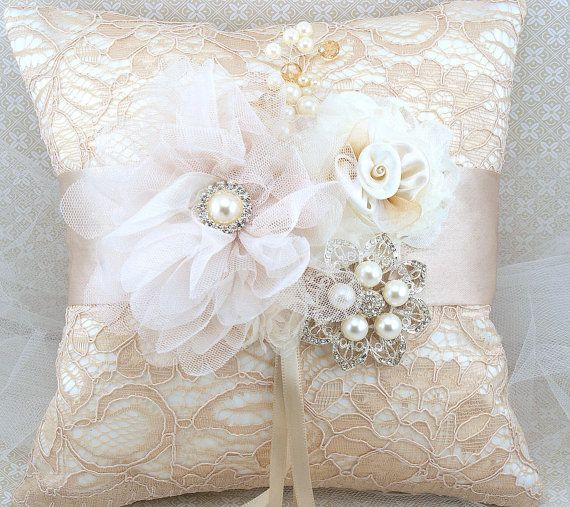 Bridal Ring Bearer Pillow and Flower Girl Basket Set in Champagne, Nude and Ivory - My Dream Wedding