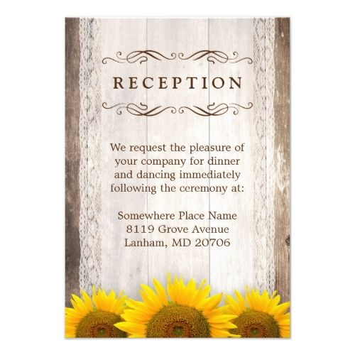 Sunflower Wedding Reception Rustic Lace Barn Wood Sunflowers Card