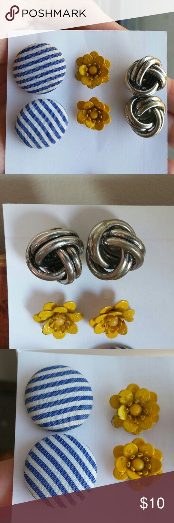 3 pairs of cute stud earrings! A great set of cute earrings for just $10!  Silver knot earrings are .75 in across Yellow flower earrings are .5 in across Blue and white fabric button earrings are .75 in across  Some minor wear and tear, please see photos.  Bundle with my other items for even more savings! Vintage Jewelry Earrings