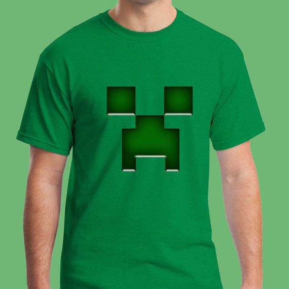 Green Minecraft Creeper Game Tshirt === from Newcrun on Etsy
