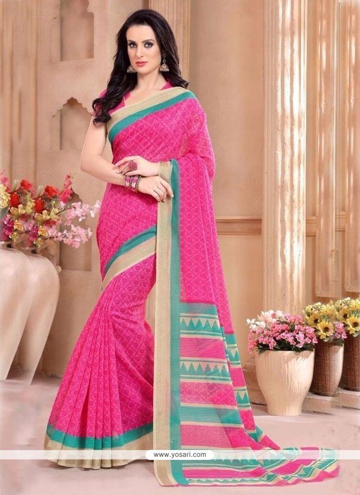 Titillating Hot Pink Silk Casual Saree Model: YOSAR9751