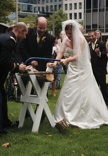 German wedding tradition of sawing a log