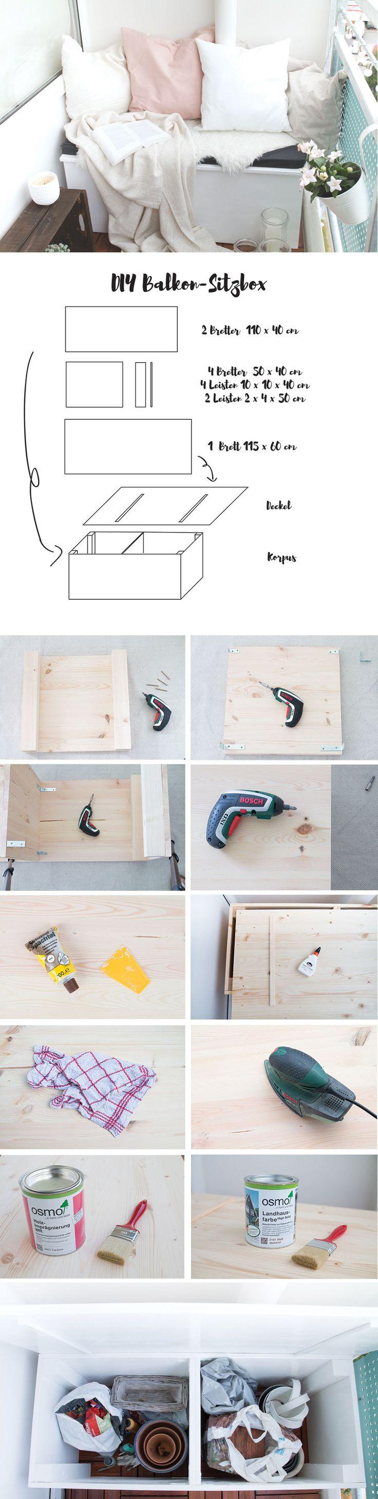 DIY Sitzbox für den Balkon aus Holz bauen. Makeover: Ordnung für den Balkon