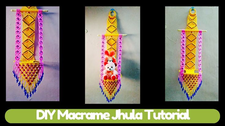 Simple DIY Tutorial of Macrame Jhula making Design 2 | Macrame Art | Han...