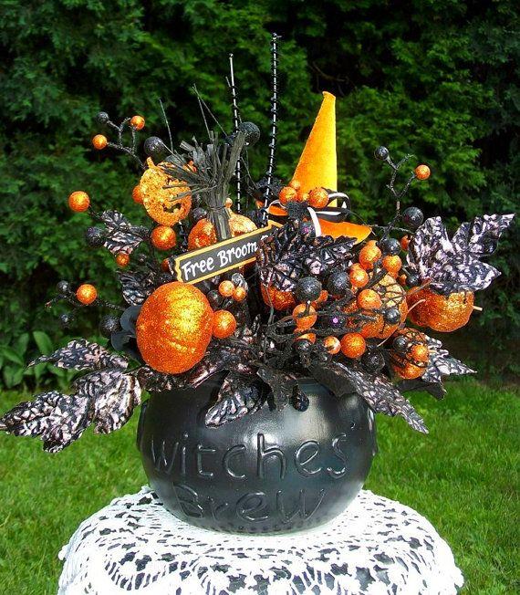 Halloween Floral Arrangement / Halloween Decor / Halloween Centerpiece / Black and Orange Witch Decor / By English Rose Deisgns Oh on Etsy, $57.99