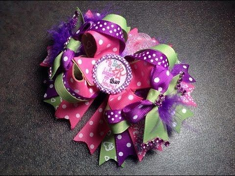 HOW TO: Make a 5 Inch Boutique Stacked Hair Bow by Just Add A Bow - YouTube