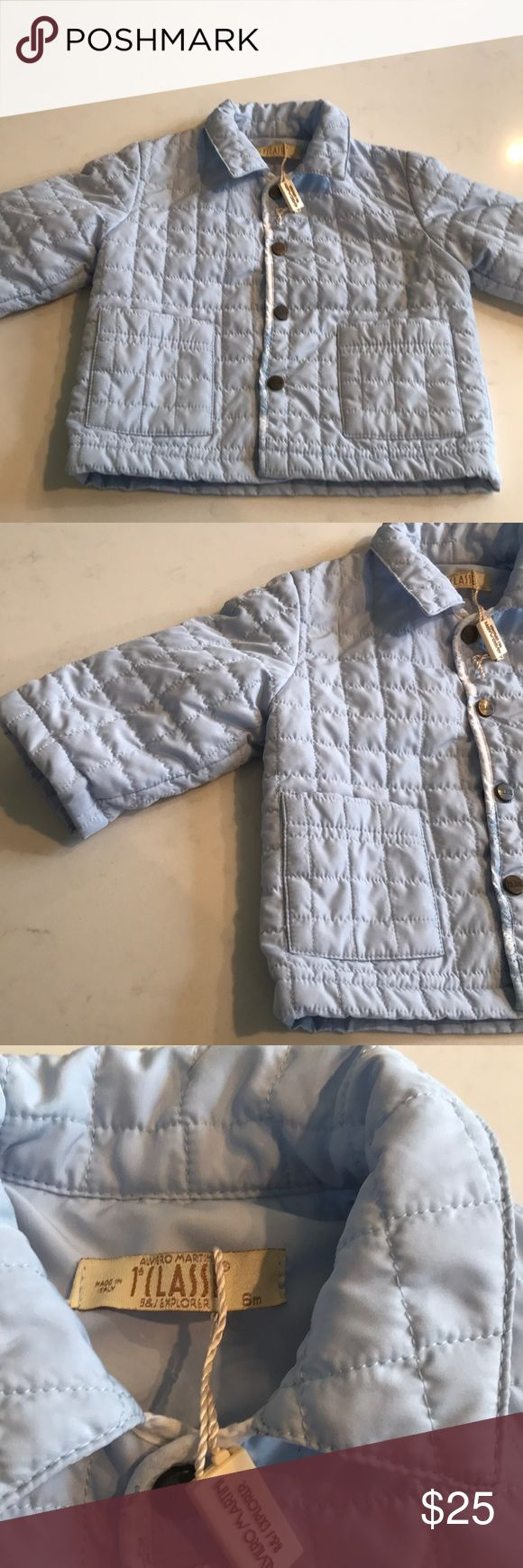 European designer boys lightweight spring jacket European designer, made in Italy, lightweight, boys,  spring puffer jacket. New. Light blue trimmed with white map design. Just precious. 1stCLASSE Jackets & Coats