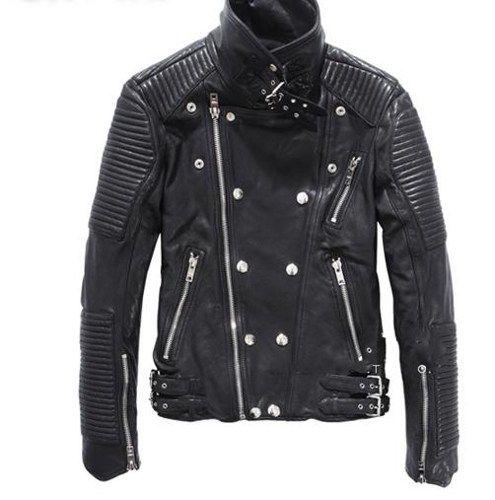 Balmain Men's sheepskin leather motorcycle jacket