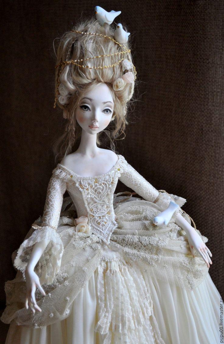 Купить Авторская коллекционная кукла Птица - бежевый, авторская ручная работа, кукла ручной работы