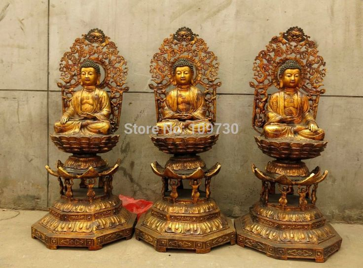 "002630 48"" old China bronze copper Buddhism three Sakyamuni Buddha Sculpture Statues #Affiliate"