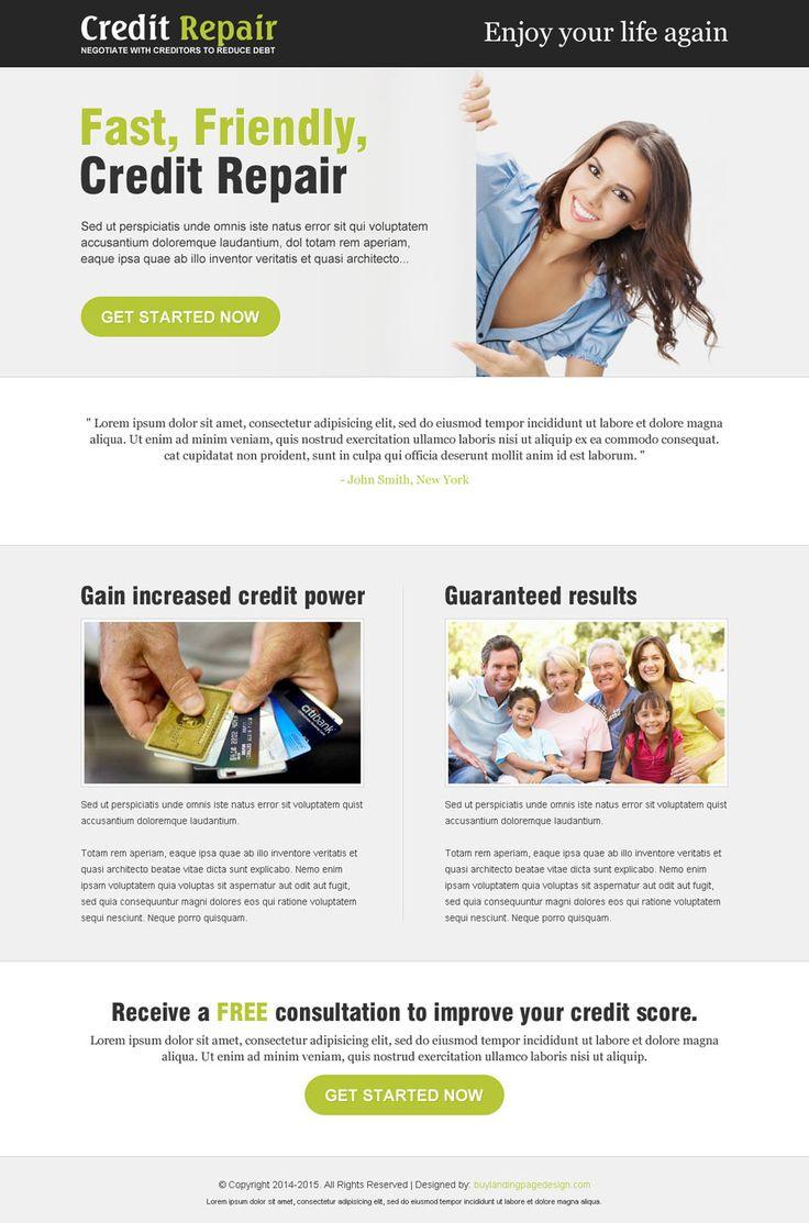 fast credit repair service landing page design