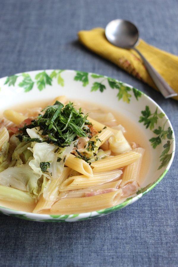 ベーコンとキャベツの白だしスープペンネ by 高橋善郎   レシピサイト ...