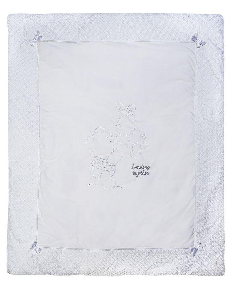 Prenatal - Novità e Offerte - Prenatal - Trapunta imbottita per culla e carrozzina bianca con ricami e fiocchetti