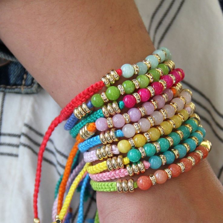 Designed in L.A., Ettika brings Friendship Bracelets to a whole new level with this look. It's the perfect bracelet to stack for the most trendy & colorful arm party! Made with cotton thread, 18K gold