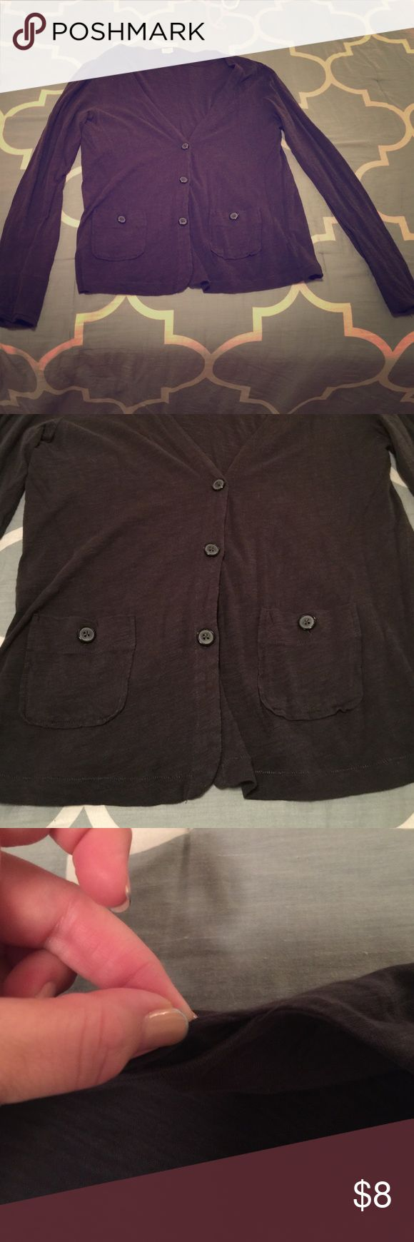 Dark blue sweater Dark blue button up sweater with pockets. Third picture shows where shirt needs to be sewn together it is at the top of the shirt on the collar cannot see when being worn. Otherwise great condition! J. Crew Sweaters Cardigans