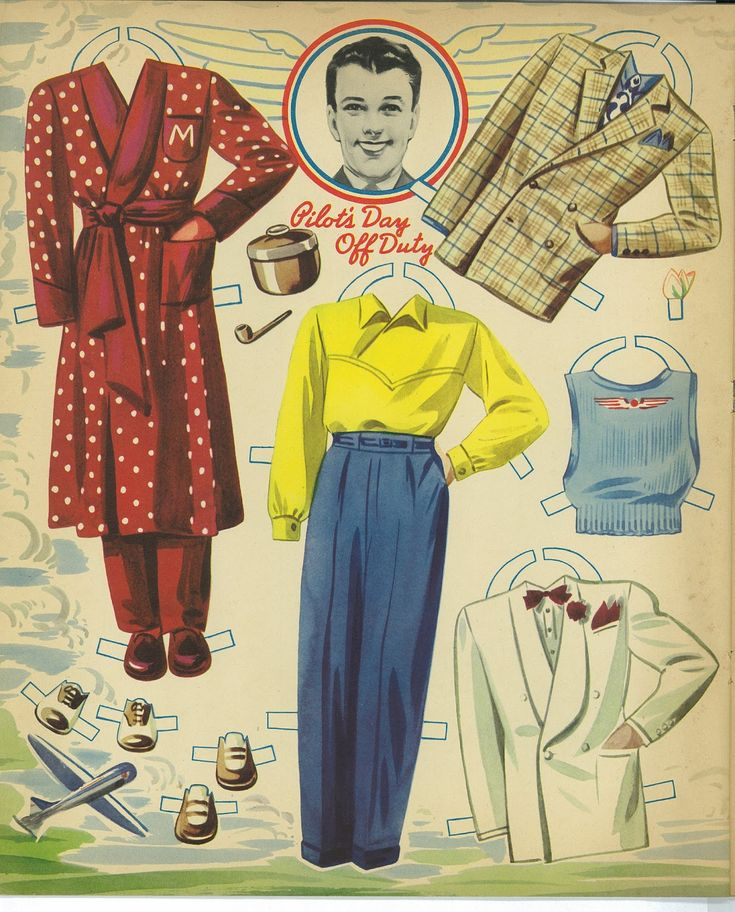 AIRLINER PAPER DOLLS Pilot and Stewardess  Date:1941 Publisher: Merrill Artist: Merlin?  9 of 10