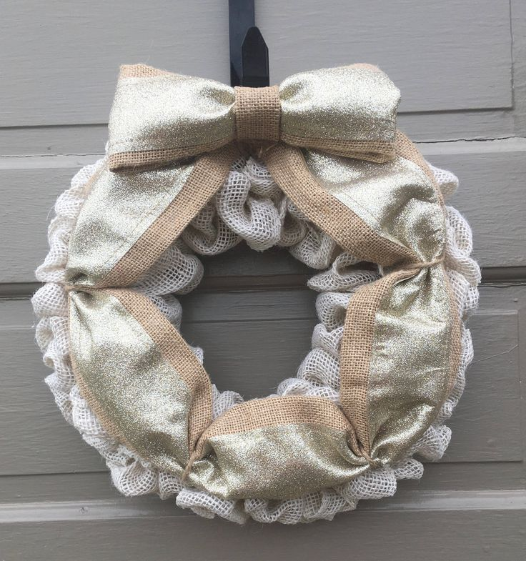 Cream Burlap Wreath, Cream Door Wreath, Small Burlap Wreath, Cream Burlap Door Wreath, Cream and Gold Wreath, Neutral Door Wreath by MintTealCrafts on Etsy