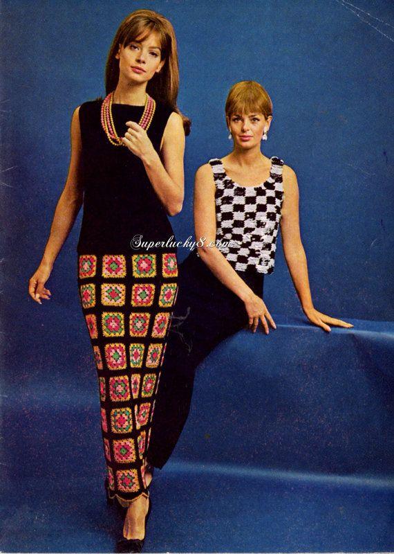 Vintage crocheted dress up PDF patterns  black by Superlucky8