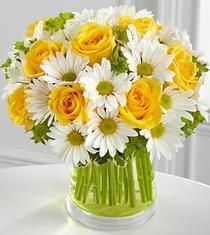 Pot O Gold -- White #spring #daisies and vibrant yellow #roses arranged in a spring green designer glass vase .