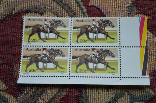 Australia-1978-Australian-Horse-Racing-Bottom-Corner-Block-of-4-x-20c-Tulloch