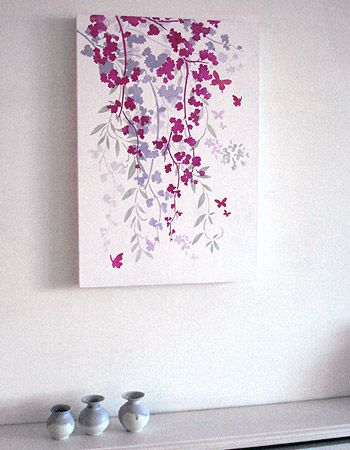 Blossom Flower Silhouettes Stencil, DIY Home Decor  Different colors----I have a wisteria stencil--would be pretty with a pastel color background and all white stencil but shades of white