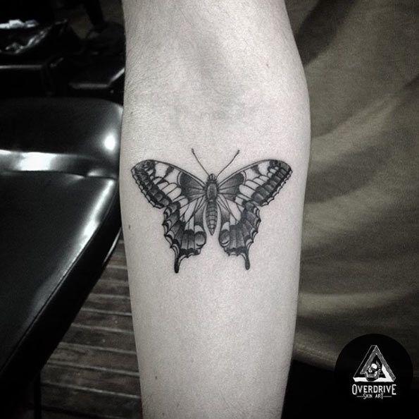 Blackwork+Butterfly+Tattoo+on+Forearm+by+Overdrive+Skin+Art