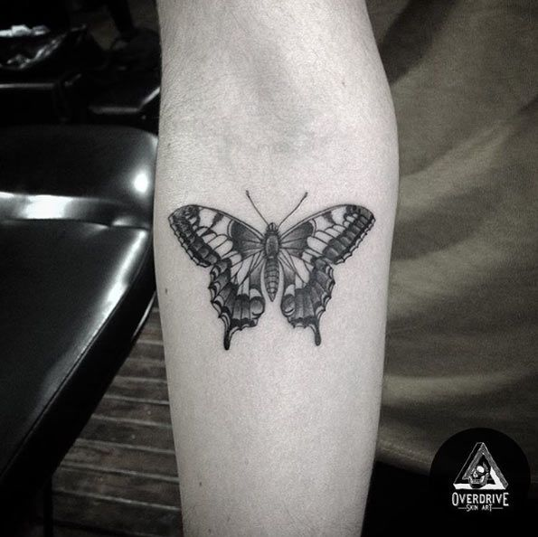Blackwork Butterfly Tattoo on Forearm by Overdrive Skin Art