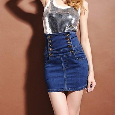 alta cintura elegantes cortos vaqueros delgados de diseño sexy de las mujeres falda de mezclilla - USD $ 23.09