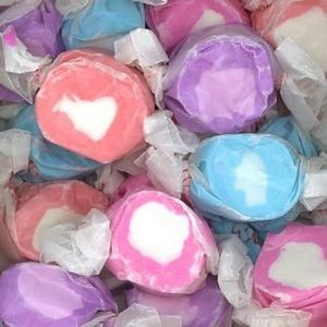 Berries & Cream Salt Water Taffy! Now you can enjoy the taste of a fresh summer berries in a conveniently wrapped salt water taffy candy! These are delicious! 1/2 lb of taffy (approximately 32-36 piec