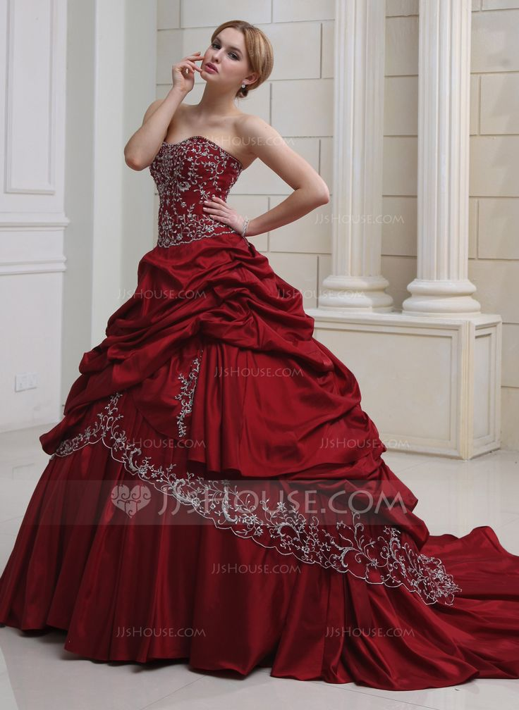 Ball-Gown Sweetheart Royal Train Taffeta Wedding Dress With Embroidered Ruffle Beading (002011490) - JJsHouse