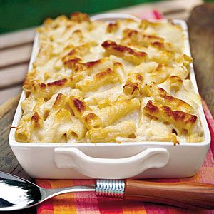 Easter Sunday Lunch Menus | Laid-Back Easter Sunday Dinner | SouthernLiving.comMacaroni And Chees, Mac Cheese, Sour Cream, Baked Pasta, Alfredo Sauces, Fettuccine Alfredo, Cheese Pasta, Comfort Foods, Comforters Food