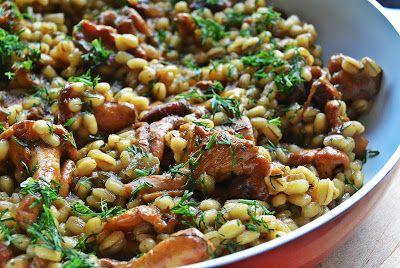 Kasha (buckwheat groats) with fresh chanterelles
