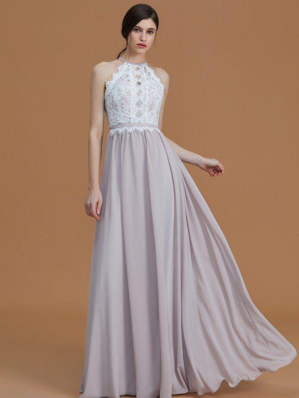 571a5a4a560f A-Line/Princess Halter Sleeveless Floor-Length Lace Chiffon Bridesmaid  Dresses - Bridesmaid Dresses - Hebeos Online