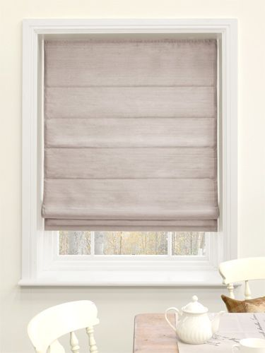 Dupioni Faux Silk Mink Roman Blind - a light brown tone with a subtle, silvery shimmer, this blind is as cool and contemporary as it gets. #blinds #roman