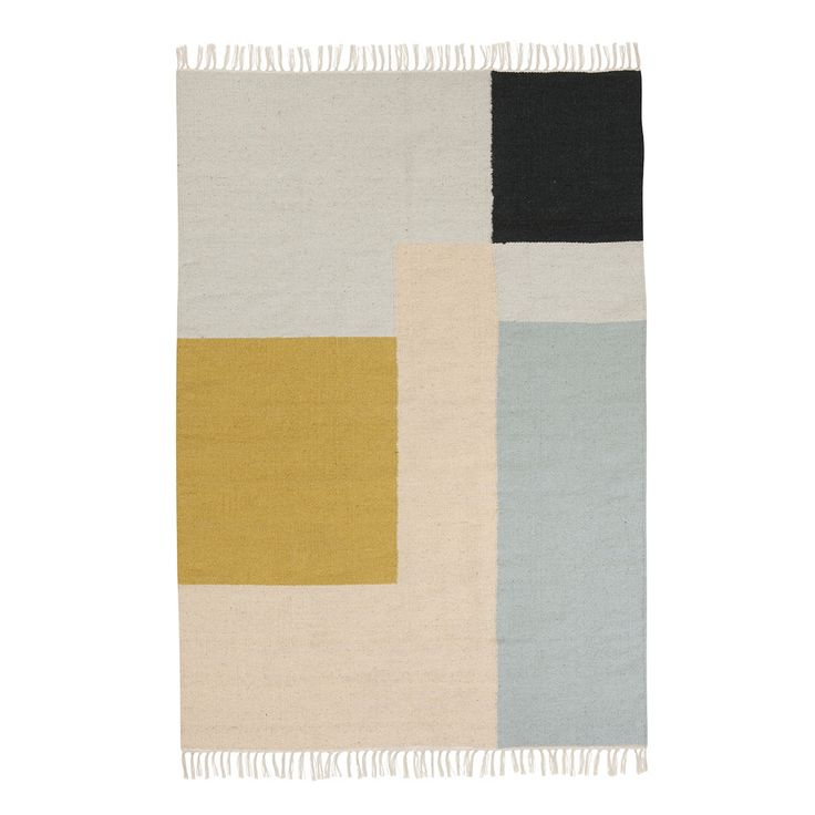 Add bold style to your living space with this gorgeous Kelim rug from Ferm Living. This stunning rug is adorned with a large square and rectangle design in beautiful colours, perfect for creating a...