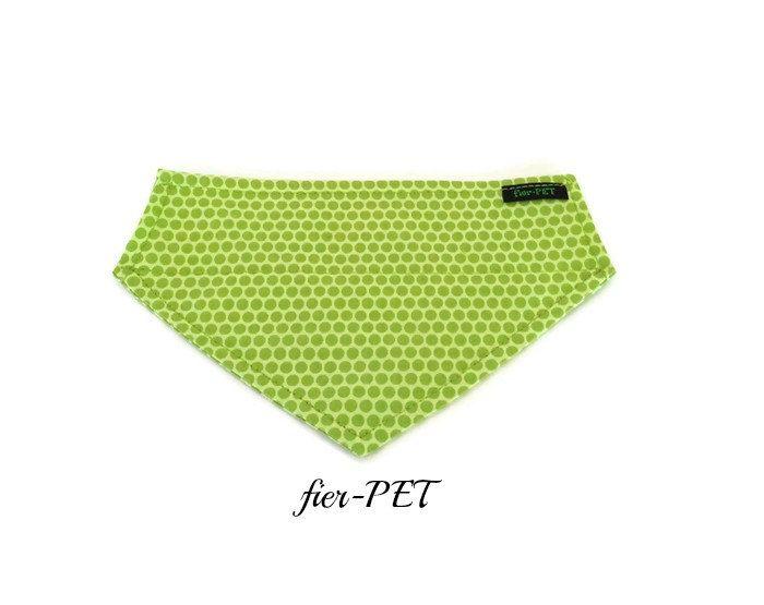 Bandana,dog collar bandana,dog collar,green,dot in green,for large dog,small dog, dog accessories by Fierpet on Etsy