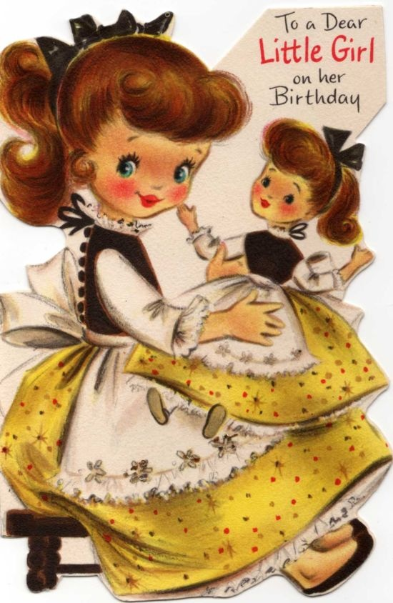 vintage card - little girl holding matching doll