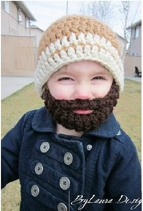 Crochet hat beard   I am so making one of these for my nephew so he can match daddy