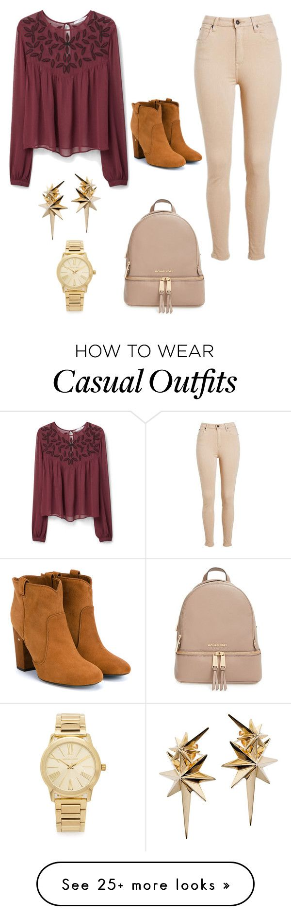 """""""Casual School Outfit"""" by maytte-carrera on Polyvore featuring MANGO, MICHAEL Michael Kors, Laurence Dacade, Ludevine, Michael Kors, women's clothing, women, female, woman and misses"""
